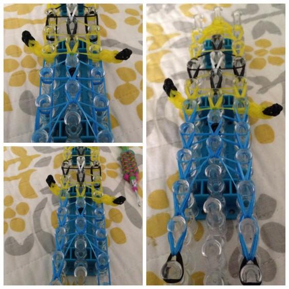 Схема плетения миньена - все резиночки переплетены