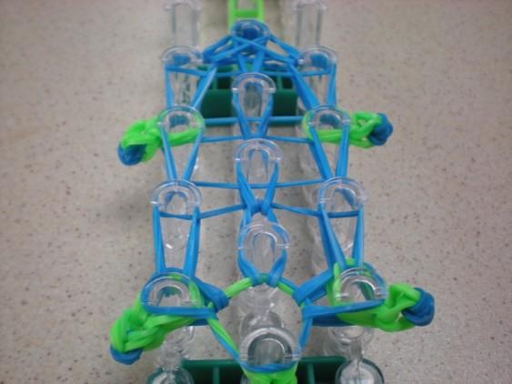 Схема плетения черепашки на станке - все резинки панциря переплетены